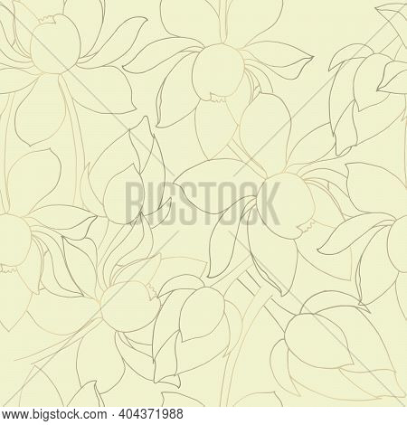 Lotus Flowers With Buds. Seamless Background. Drawn Elements With Gilding. Children S Texture.