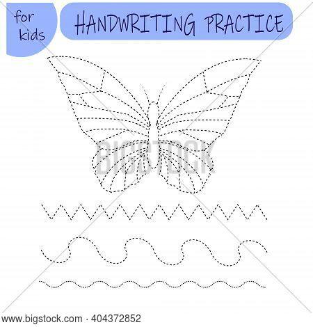 Handwriting Practice. Drawing Worksheet For Preschool Kids With Easy. Simple Educational Game For Ki