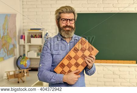Management And Leadership. Board Game. Smart Man Playing Chess. Intellectual Hobby. Chess Lesson. St