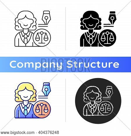 Law Department Icon. Dealing With Legal Affairs. Ensuring Company Legality And Compliance Actions. L