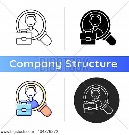 Human Resource Icon. Organization Workforce. Hr. Recruiting And Training Job Applicants. Hiring And