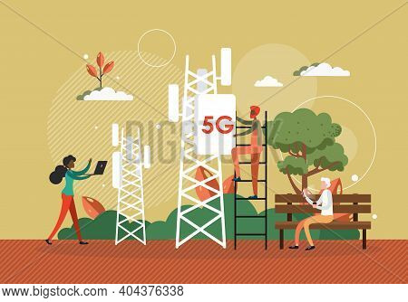 Tech Worker Installs 5g Antenna To Cellular Network Tower. 5g Technology Concept Vector Illustration