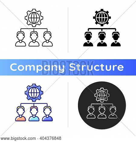 Outsourcing Icon. Obtaining Goods And Services From Foreign Supplier. Business Practice. Hiring Comp