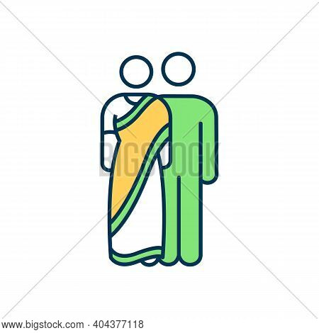 Indian People Rgb Color Icon. Woman In Ethnic Clothes. Hindu Culture. Indian Couple. Oriental Custom