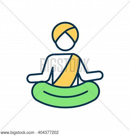 Mahatma Gandhi Rgb Color Icon. Meditating Muslim Man. Monk Praying. Spiritual Activity. Indian Perso