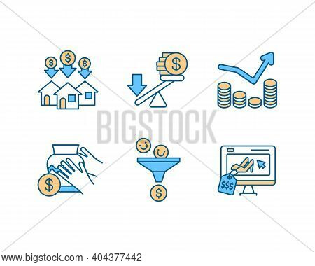 Business Investment Rgb Color Icons Set. Purchase Property. Buying Building. Avoid Financial Leverag
