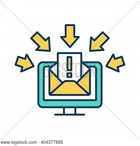 Hacking Rgb Color Icon. Cyber Attack. Broken Privacy Protocol. Hacking Computer. Personal Informatio