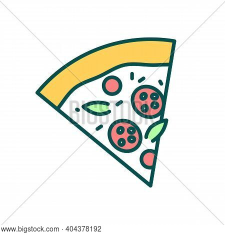 Pepperoni Pizza Slice Rgb Color Icon. Delicious Fast Food. Dinner Recipe With Tomato And Meat. Itali