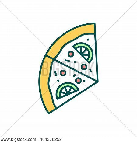 Exotic Pizza Pieces Rgb Color Icon. Pizzeria Menu. Culinary And Cookery. Delicious Fast Food. Restau