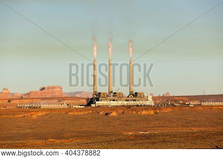 The Navajo Generating Station Which Generates Energy From Coal In Page, Arizona With Soft Afternoon