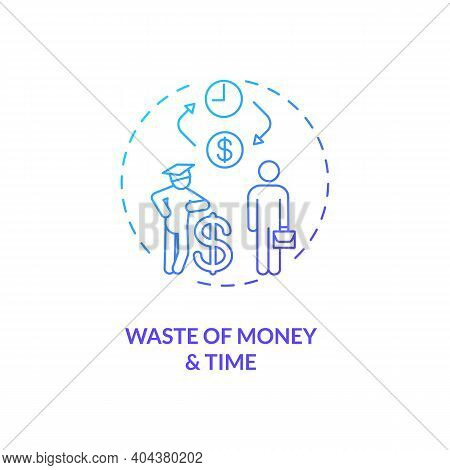Money And Time Wasting Concept Icon. Staff Training Disadvantage Idea Thin Line Illustration. Shorte
