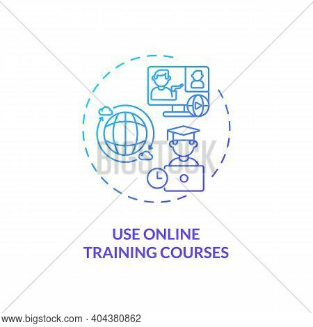 Using Online Training Courses Concept Icon. Staff Reboarding Tip Idea Thin Line Illustration. Self-d
