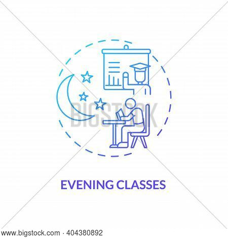 Evening Classes Concept Icon. Staff Training Type Idea Thin Line Illustration. Attending Night Schoo