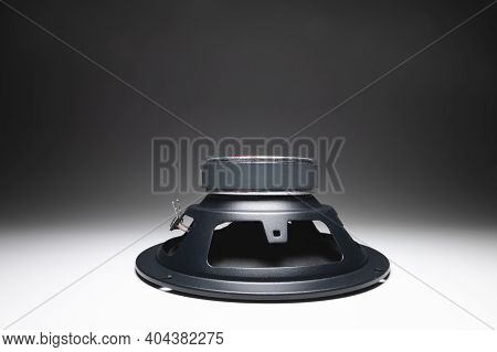 New Car Speakers On A White Background In Contrasting Light. Wide Angle Audio Background