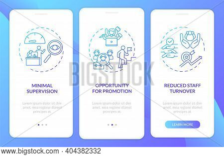 Employee Training Advantages Onboarding Mobile App Page Screen With Concepts. Staff Turnover, Low Co