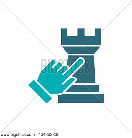 Human Chooses A Rook Chess Colored Icon. Board Game, Table Entertainment Symbol