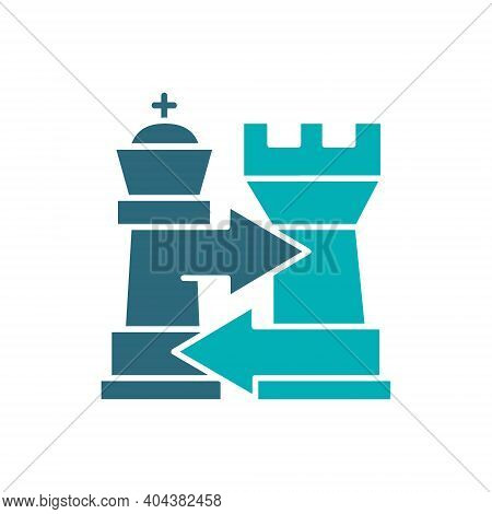 Rook And King Chess Exchange, Castling Colored Icon. Board Game, Table Entertainment Symbol
