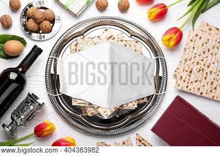 Coronavirus Pandemic. Flat Lay Composition With Symbolic Pesach (passover Seder) Items And Protectiv
