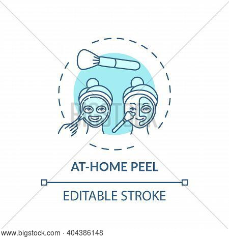 At-home Peel Concept Icon. Home Beauty Treatment Idea Thin Line Illustration. Unclogging Pores. Ligh