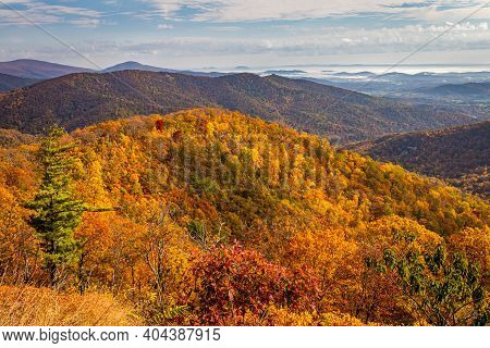 View Of Shenandoah National Park And The Blue Ridge Mountains From The Park's Famous Skyline Drive B