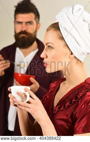 Couple Having Breakfast. Couple. Family Relationship. Breakfast. Husband And Wife Have Breakfast Tog