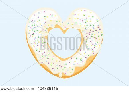 Bright Donut In The Shape Of A Heart. Vector Donut With Sugar Sprinkles. White Donut