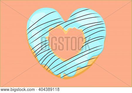 Bright Donut In The Shape Of A Heart. Vector Donut With Chocolate Icing. Blue Donut