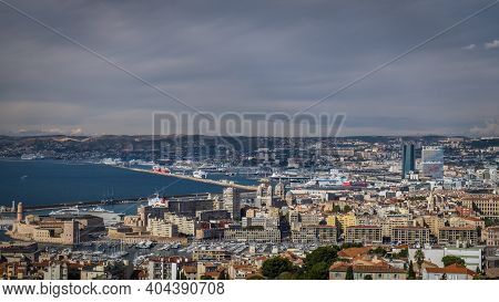 Marseille, France, Oct 2020, Panoramic View Of The City By The Mediterranean Coast In The South-fran