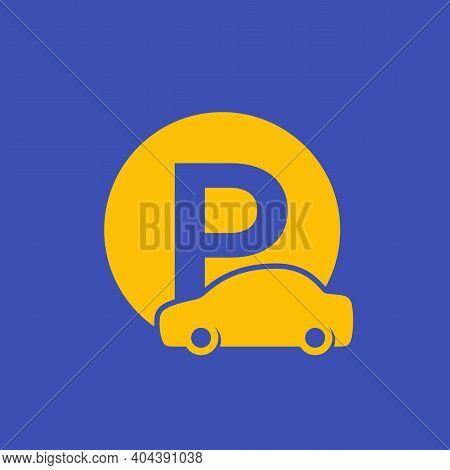 Car Parking Roadsign, Vector Icon With Auto