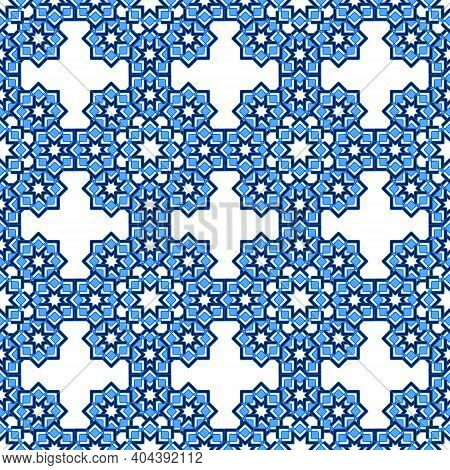 Complex Seamless Abstract Pattern Of Curly Stars In Blue Shades, White Background. Great For Decorat