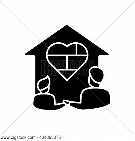 Homeschool Together Glyph Icon. Building Stronger Relationship. Online Education Concept. Distant Re