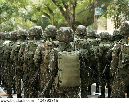 Army Soldiers During The Parade On September 7 In Brazil.