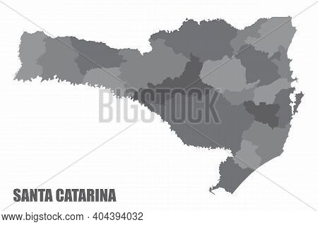 The Santa Catarina State Grayscale Regions Map Isolated On White Background, Brazil