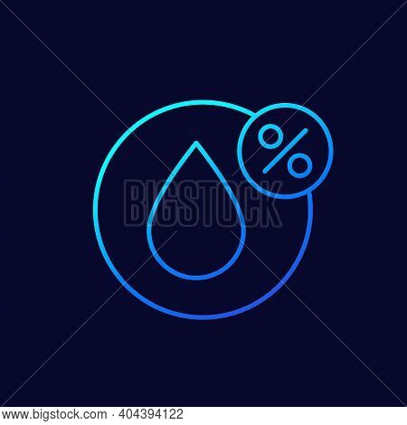 Humidity Linear Icon, Water Drop And Percent