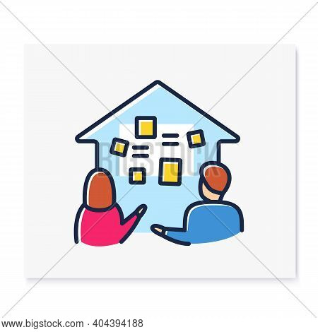 Homeschooling Curriculum Color Line Icon. Parents Determine The Curriculum Of Their Children. Online