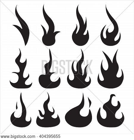 Black Fire Flame Isolated Icons Set. Different Dark Fire Symbols In Modern Flat Style. Flaming Eleme