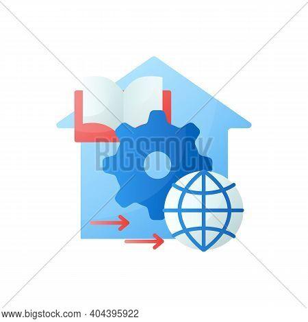 Adapt Teaching Methods Flat Icon. Training Process Management. Home Education Concept. Distant Remot