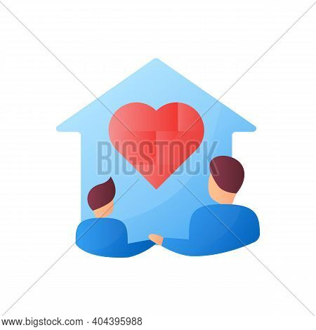 Homeschool Together Flat Icon. Building Stronger Relationship. Online Education Concept. Distant Rem