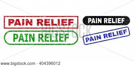 Pain Relief Grunge Seal Stamps. Flat Vector Distress Seal Stamps With Pain Relief Title Inside Diffe