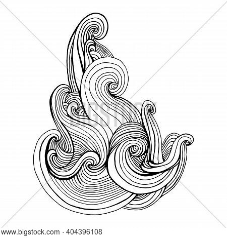 Curly Waves Element Coloring Page, Isolated On White. Black Lines Decorative Doodle Style Pattern.