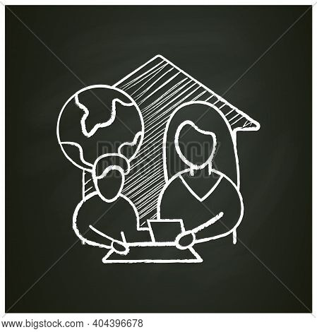 Geography Lesson Chalk Icon. Child Teaches Geographics With Mother. Home Education Concept. Distant