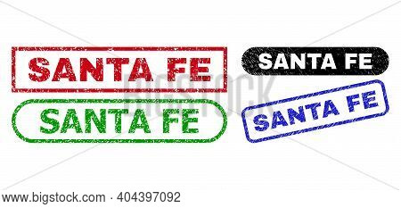 Santa Fe Grunge Watermarks. Flat Vector Grunge Seal Stamps With Santa Fe Text Inside Different Recta