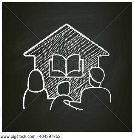 Homeschooling Family Chalk Icon. Parents And Child Spend More Time Together. Online Education Concep
