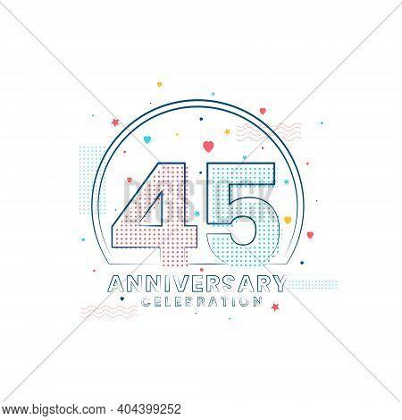 45 Years Anniversary Celebration, Modern 45 Anniversary Design Vector Illustration