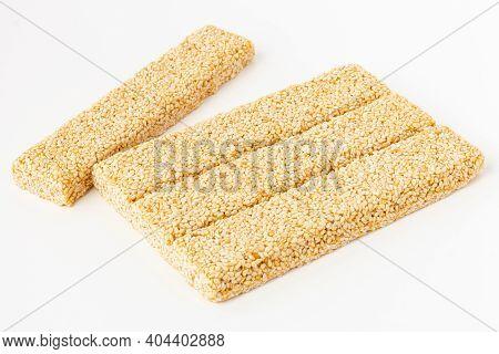Sesame Brittle Bars (indian Chikki) Isolated On White