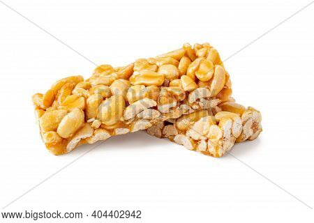 Peanut Brittle Bar Isolated On White. Groundnut Indian Chikki With Shadow.