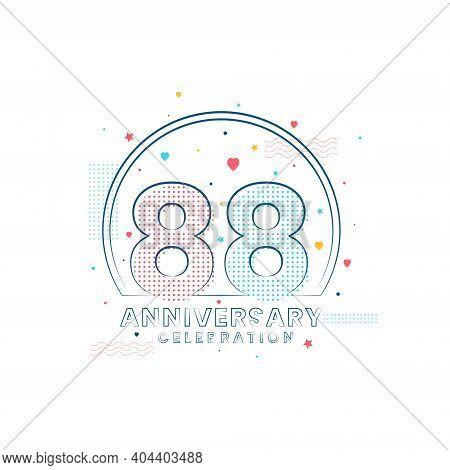 88 Years Anniversary Celebration, Modern 88 Anniversary Design Vector Illustration