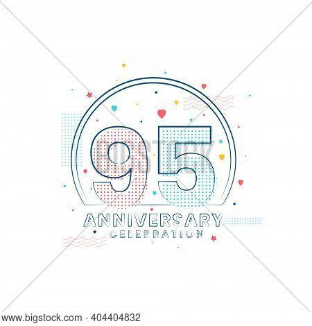 95 Years Anniversary Celebration, Modern 95 Anniversary Design Vector Illustration