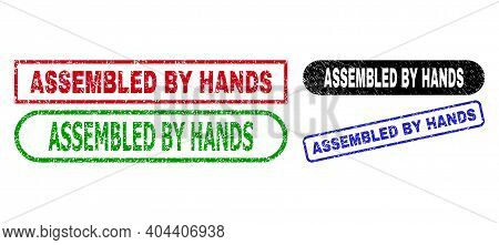 Assembled By Hands Grunge Seal Stamps. Flat Vector Distress Seal Stamps With Assembled By Hands Capt
