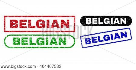 Belgian Grunge Watermarks. Flat Vector Distress Watermarks With Belgian Tag Inside Different Rectang